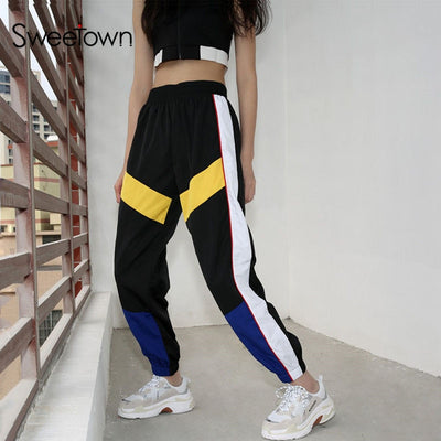 Sweetown Harajuku Hip Hop Cargo Pants Streetwear Women Street Style Pantalon Femme Panelled Spliced High Waist Jogger Sweatpants