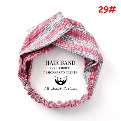 Korean Style Summer Lovely Hairband Women Hair Accessories Turban Twist Cross Headwrap Girl Floral Elastic Knotted Headwear