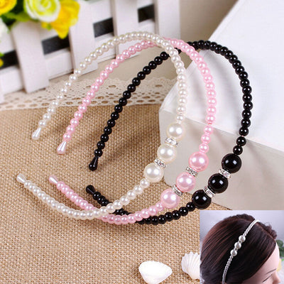 Elegant kids Girl pearl Headbands Korean Style Princess pearl with rhinestone Hair bands children Hair Accessories 1pc