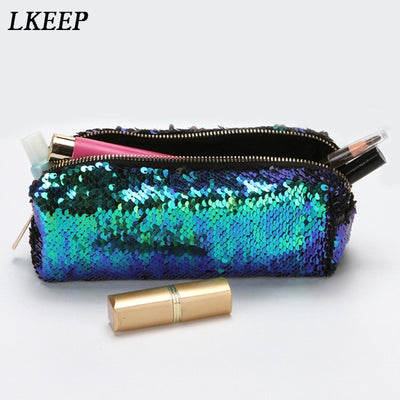 Fashion Cosmetic Bags Double Color Sequins Handbag Cosmetic Bag Makeup Pouch Women Girl's Pencil Bags High Quality