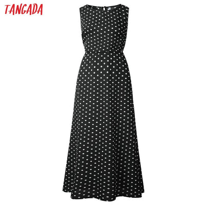 Tangada summer women maxi dress long korean style polka dot dress vintage ladies dresses sleeveless robe femme ete 2019 AON42