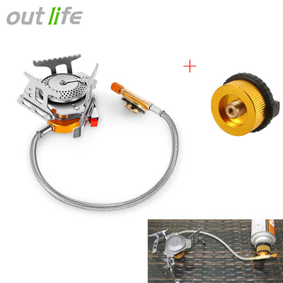 Outlife Portable Gas Stove Gas Burner + Split Type Furnace Converter Connector for Hiking Camping BBQ Picnic Gas Cooking Stove