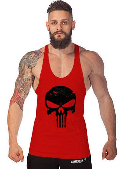 Gym musculation vest bodybuilding clothing and fitness men undershirt solid tank blank golds men undershirt Skull tanktop