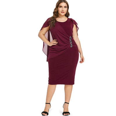 Wipalo Plus Size 5XL Capelet Knee Length Fitted Party Dress Women Sleeveless Scoop Neck Sheath Dress Rhinestone Overlay Vestidos