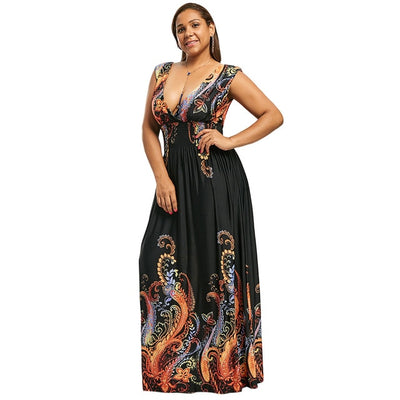 Wipalo Summer Paisley Plunge V Neck Bohemian Plus Size Women Dress Casual Beach Maxi Dress Big Size 5XL Elegant Party Dress