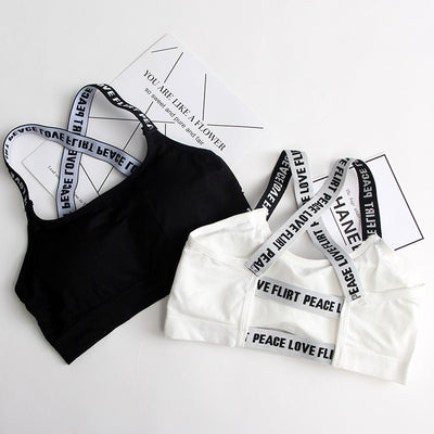 Women Sport Bra Fitness Top Letters Yoga Bra For Cup A-D Black White Running Yoga Gym Fitness Crop Top Women Push Up Sports Bra