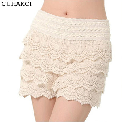 CUHAKCI Womens Shorts New Summer Shorts Fashion Sweet  Crochet Elastic Waist Slim Short Pants Plus Size Lace Shorts S M L XL XXL