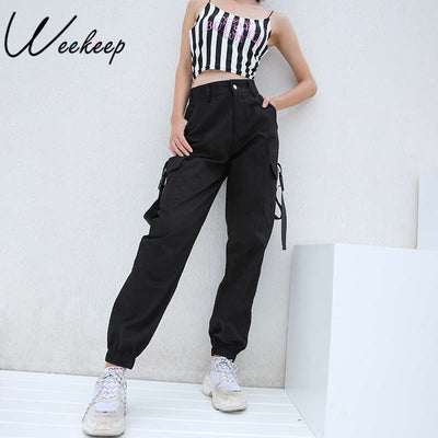 Weekeep Black High Waist Cargo Pants Women Pockets Patchwork Loose Streetwear Pencil Pants 2018 Fashion Hip Hop Women's Trousers