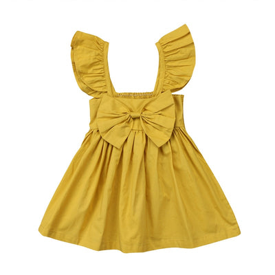 Cute Newborn Kids Baby Girl Dresses Clothing Sleeveless Ruffle Bowknot Dress Princess Clothes Girls Outfits Solid Summer
