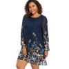 Wipalo Navy Blue Plus Size Floral Embroidery Tunic Dress Spring Summer Elegant Large Sizes Tribal Flower Print Vocation Dress