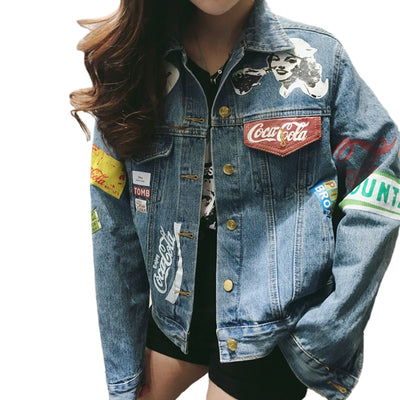 2019 Spring Graffiti Denim Jacket Women Streetwear Loose Vintage Coat Single Breasted Casacos Feminino Jean Jacket Outerwear