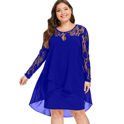 Wipalo Women Plus Size Sheer Lace Sleeve High Low Hem Dress Casual Solid Asymmetric Splicing Dress Spring Autumn Party Vestidos