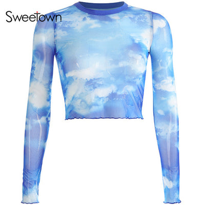 Sweetown Vintage Mesh Cute Crop Top Tshirt Long Sleeve Blue Sky Print Lovely Graphic Tees Women Sexy Transparent Summer Tops