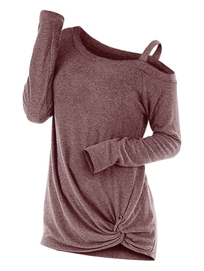Wipalo Fashion Spring Knotted Skew Neck Sweater Long Sleeve Cut Out Solid Pullover Sweater Women Clothes One Shoulder Casual Top