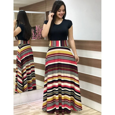 Summer Autumn Ladies Dress Sexy Plus Size Party Dress Slim Flower Printed Short-Sleeved Long Dresses