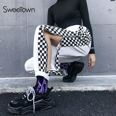 Sweetown Patchwork Plaid Streetwear Pants Women Checkerboard Zipper Open Joggers Sweatpants Summer 2019 Woven High Waist Pants