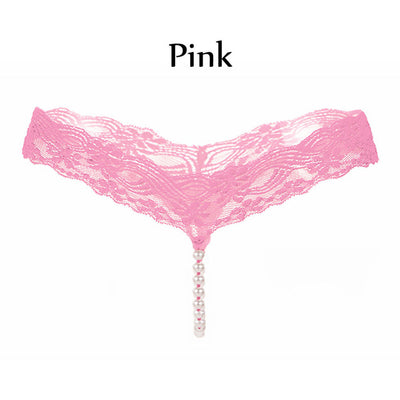 6Colors Women Pearls Thongs And G-String Panties Sexy Ladies Lace Rope Seamless Underwear Elastic Intimates Underpants black