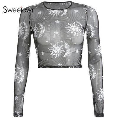 Sweetown Moon And Galaxy Print Summer 2019 Mesh T-Shirt Women Long Sleeve Gothic Crop Top Knitted Slim Transparent Sexy Tshirts