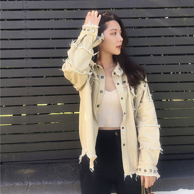 Spring Studded Frayed Women's Denim Jacket Long Sleeve Women's Jackets Large Size Outerwear Irregular jeans jacket Streetwear