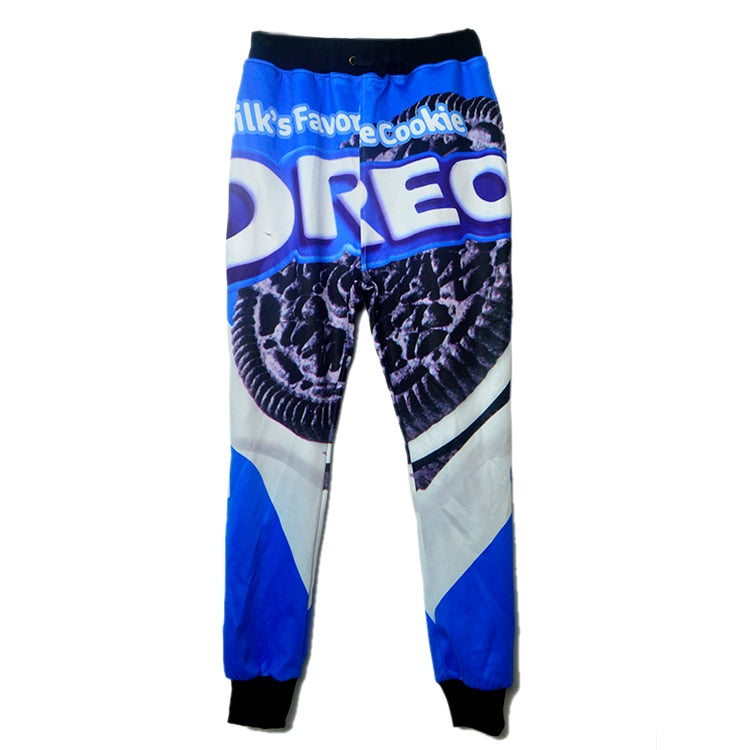 Raisevern 2019 Hot 3D Joggers Pants Women Novelty Black Cookies Oreo Print 3d Food Sweat Pants Full Hip Hop Sweatpants Dropship