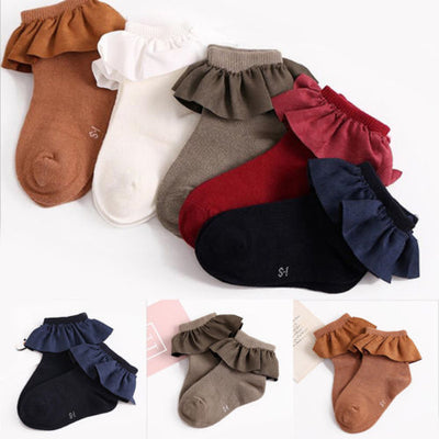 5 Color kid short socks with lace welt funny happy knitted infant newborn toddler baby socks for girls age 2-8 year old