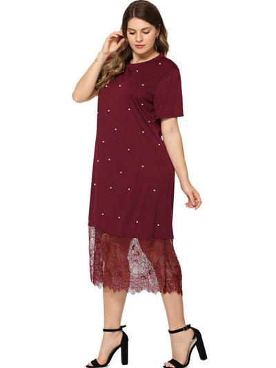 Wipalo Fashion Plus Size Beaded Lace Splice T-Shirt Dress O Neck Short Sleeves A Line Sheath Dresses Causal Party Dress Vestidos