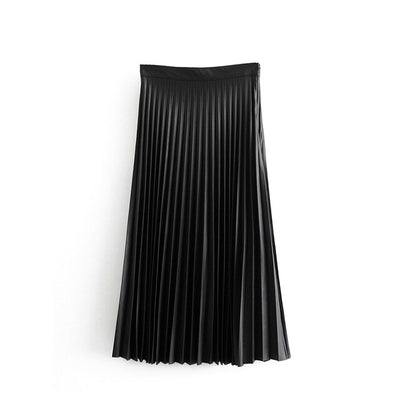 Tangada women black basic pleated midi skirt faldas mujer vintage side zipper fly solid female casual chic mid calf skirts 6A68
