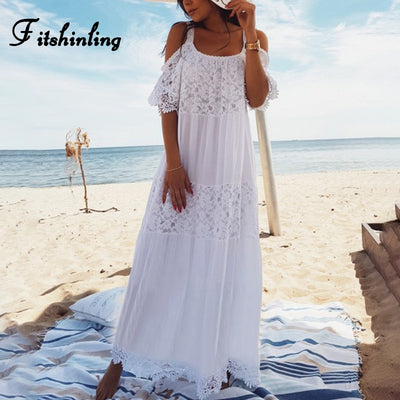 Fitshinling Bohemian lace patchwork maxi dresses women tunic open shoulder sexy white long dress holiday strap summer pareos hot