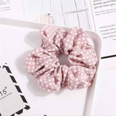 Polka Dot Stripe Lattice Cloth Scrunchie Women Girls Elastic Hair Rubber Band Accessories For Women Tie Hair Ring Rope Headdress