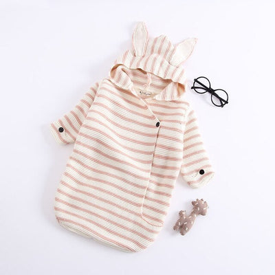 Autumn Winter New Baby Romper Bunny Ears Knitted Baby Sleeping Bag Is Stereo Baby Clothes for Newborns Baby GIFT Clothes