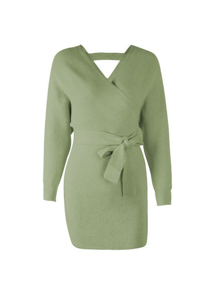 Tangada women dress 2019 knitted mini dress autumn winter ladies sexy green sweater dress long sleeve vintage korean ADY08