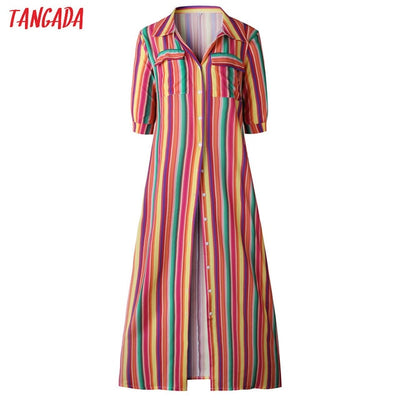 Tangada women maxi dress striped retro boho style 2019 autumn long shirt dress party female elegant dress plus size XXXL aon47