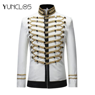 YUNCLOS 2019 Male Single Breasted Suit Jacket Men Military Stage Suit Fashion Drama costume Party Blazer Men Plus Size