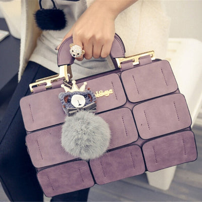 Fashion Women Handbag With Dolls 9 Grid Splicing Hand Bags Ladies Top-Handle Bag Zipper Hasp Clutch 2018 New Totes