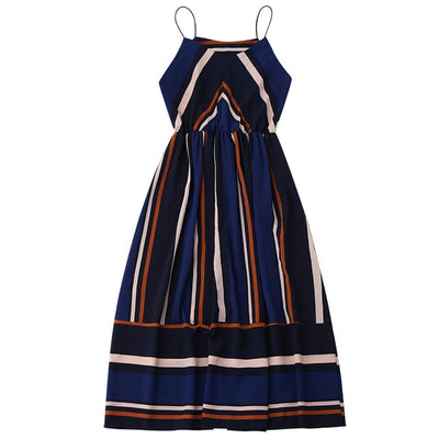ZAFUL Striped Beach Dress Women Sexy Sleeveless Spaghetti Strap Midi A Line Summer Party Dress 2019 Casual Sundress Vestidos