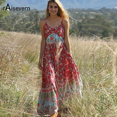 Raisevern Casual Boho Dress Women 2019 Summer Spaghetti Strap Beach Dress Sexy V Neck Women Maxi Dresses Long Vestidos