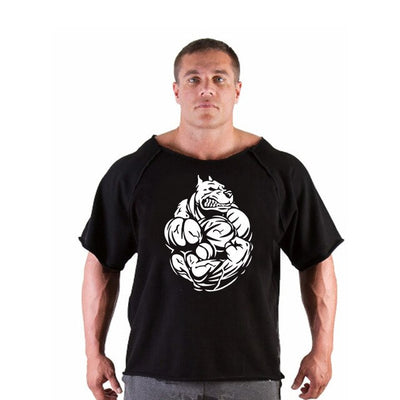 Men's T Shirts Golds Fitness Men Bodybuilding Gorilla Wear Shirt Batwing Sleeve Rag shirt Gym Fitness Muscle Running T shirt