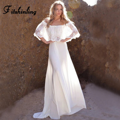 Fitshinling Off shoulder lace long floor-length dress bohemian summer beach white party dresses sexy hot party pareos sarafan