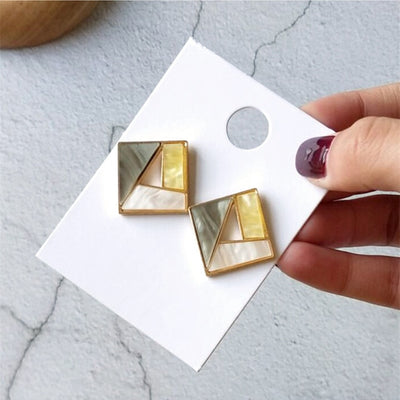 Metal Gold Color Colorful Stitching Resign Stud Earring Marble Pattern Round Circle Oval Triangle Square Geometric Earring