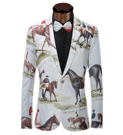 YUNCLOS Brand New Blazer Men Riding Horse 3D Print Suit Jacket Slim Fit Casual Stage Wear Fashion Men Bow Tie Blazers Plus Size