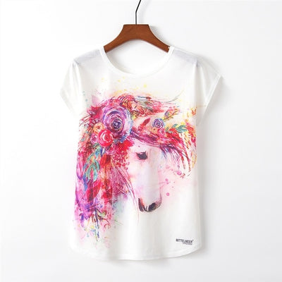 Raisevern New Kawaii Flamingo T shirt Womens Summer Cute Flamingo Unicorn Deer Print T-Shirt Femme Camisetas Mujer Dropship