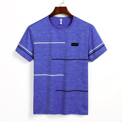 Free Ship Summer Striped T shirts Men Clothing Fitted Male Tshirts Fast Dry Short Sleeve Top Tee O-Neck China Size 4XL=52 Russia