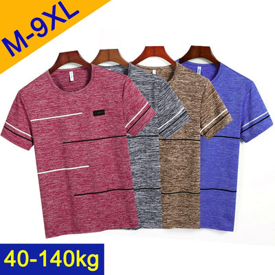 9XL Summer T shirts Men Clothing Polyester Plus Size 5XL 6XL 7XL 8XL Male Tshirts Breathable Short Sleeve Strip Top Tees O-Neck