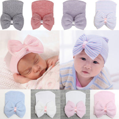 Soft Yarn Cap Newborn Hat Bowknot Baby Infant Girl Toddler Comfy Bowknot Hospital Caps Warm Beanie Hat