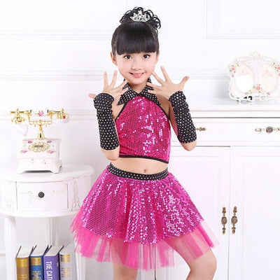 Children Sequin Jazz Dance Modern Dance Costume Fashion Latin Waltz Dancing Dress Stage Show Dresses  Jazz Costumes For Girl