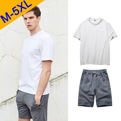 5XL Summer Short Sets Men Casual Suits Cotton Sportswear Tracksuit Male Outwear Sweatshirts Hoodies Plus Size Solid T-Shirt+Pant