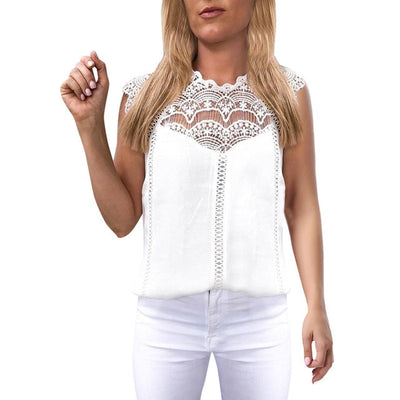 Womens Tops and Blouses Women Lace Solid Sleeveless Hollow Blouse Tops Shirt Shirts White Black Women clothes Hollow Blusas#L5$