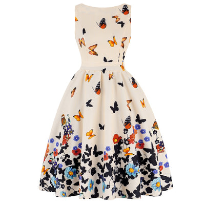 Joineles Plus Size Butterfly Print Vintage Dress Women Summer 50s Rockabilly A-Line Party Dress Cotton Casual Sundress Vestidos