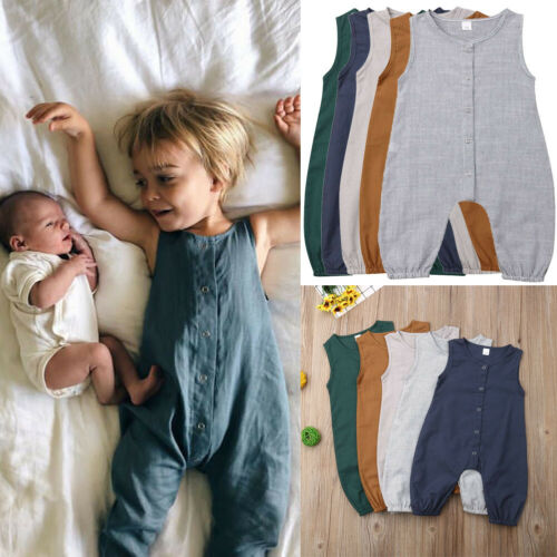 Newborn Toddler Baby Girl Boy Solid Clothes Romper Jumpsuit Cotton Linen Outfits
