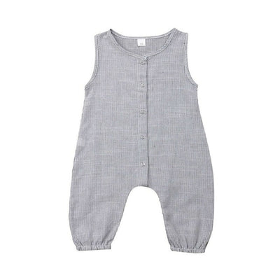 0-24M Baby Cotton Linen Romper Boy Girl Toddler Newborn Sleeveless Romper Jumpsuit Playsuit Clothes Outfit